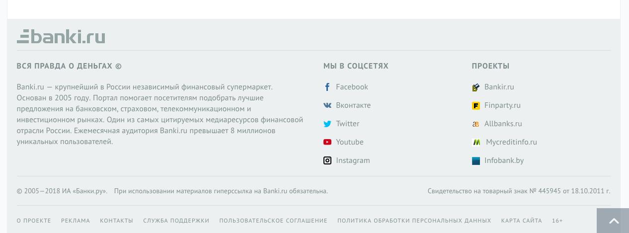 Графическое оформление подвала сайта банки.ру